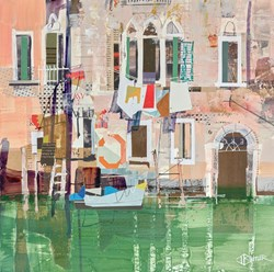 Washing Line Venice, Study by Tom Butler - Original Collage on Board sized 17x17 inches. Available from Whitewall Galleries